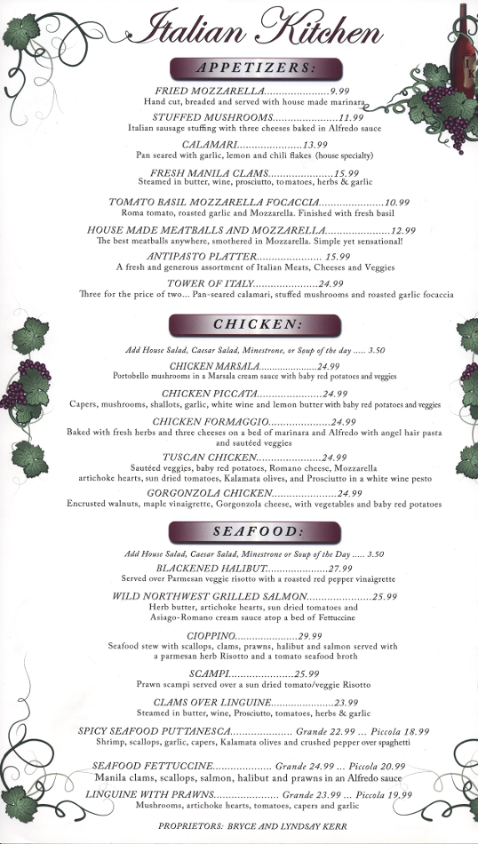 Dinner Menu - Visit our restaurant for Dinner Menu,Italian food, including ravioli, spaghetti, chicken Parmesan, and lasagna. Located in Spokane, Washington.