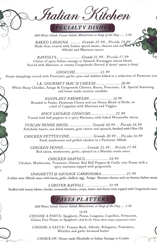 Dinner Menu - Visit our restaurant for Dinner menu extended,Italian food, including ravioli, spaghetti, chicken Parmesan, and lasagna. Located in Spokane, Washington.